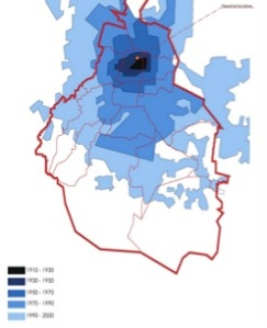 Figure 2: Mexico City Urban population Growth. © Politics of Fabrication BlogSpot 2011