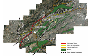 Figure 3: Roads, ravines and socioeconomic divisions in Santa Fe. © Samuel Tellechea 2010